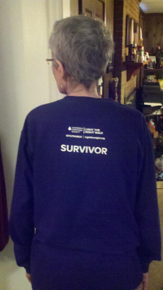 Patsy with survivor shirt