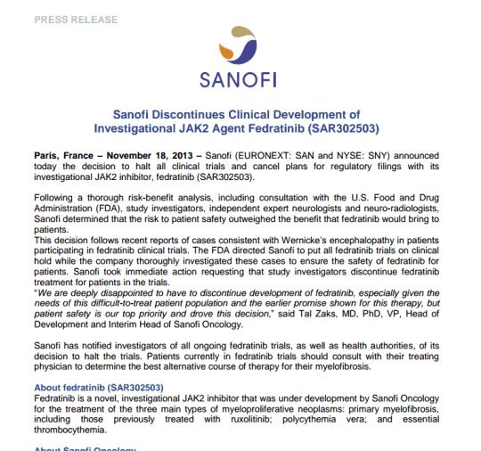 Sanofi release over
