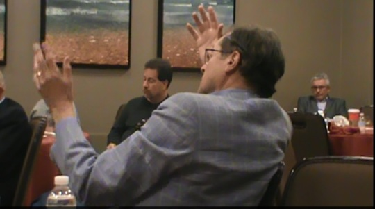 Robert Rosen summing up, Left, David Wallace, PV Reporter; R.: Dr. Srdan Verstovsek, MD Anderson