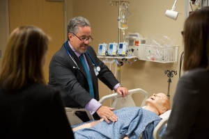Dr. Ruben Mesa demonstrating palpation technique